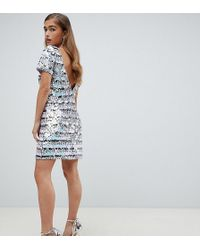 TFNC London - Striped Sequin Mini Bodycon Dress With Low Back In Rainbow - Lyst