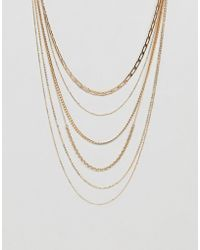 ASOS - Design Multirow Necklace With Vintage Style Chains In Gold - Lyst