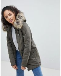 ONLY - Macy Parka Coat With Faux Fur Hood - Lyst