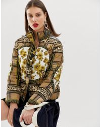 River Island - Padded Jacket In Scarf Print - Lyst