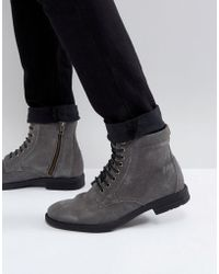 KG by Kurt Geiger Kg By Kurt Geiger Military Lace Up Boots In Grey