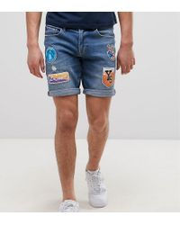 ASOS - Tall Slim Denim Shorts In Mid Wash Blue With Patches - Lyst