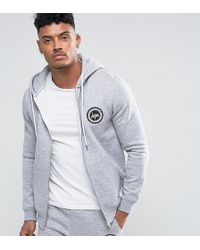 Hype - Zip Up Hoodie With Crest Logo - Lyst