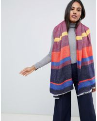 Oasis - Knitted Scarf In Multi-colored Stipe - Lyst