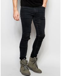 Dark Future | Extreme Super Skinny Jeans In With Knee Patches And D Ring | Lyst