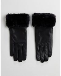 French Connection | Fur Trim Gloves In Leather | Lyst