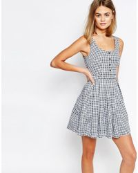 Jack Wills - Gingham Print Button Front Dress - Navy - Lyst