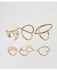 Glamorous - Multipack Gold Rings - Lyst