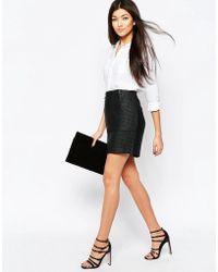 Ichi - Short Skirt With Zip Detail - Lyst