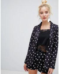 Fashion Union - Blazer In Spot Rose Print Two-piece - Lyst