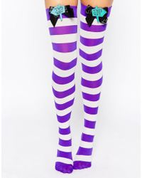 Leg Avenue - Mad Hatter Bow Top Thigh Highs - Lyst