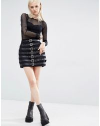 Tripp Nyc - Buckle Mini Skirt - Black - Lyst