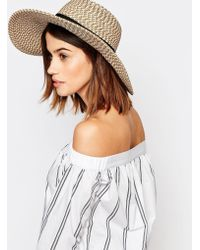 Warehouse - Textured Floppy Straw Hat - Lyst