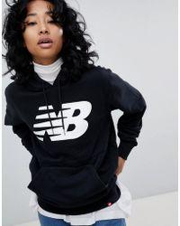 New Balance - Logo Hoodie In Black - Lyst