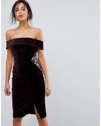 Oasis - Lace Panel Bardot Bodycon Midi Dress - Lyst