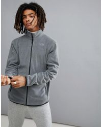 The North Face - 100 Glacier Full Zip Fleece In Grey Heather - Lyst