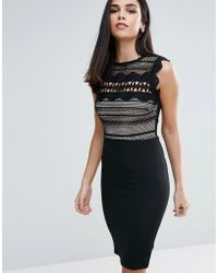Lipsy - Pencil Dress With Lace Body - Lyst