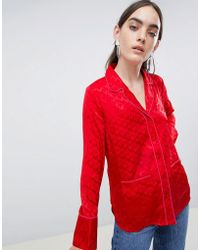 ASOS - Long Sleeve Shirt With Pyjama Styling In Jacquard - Lyst