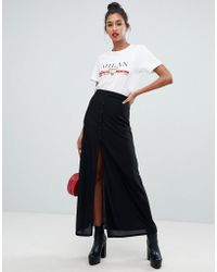 Boohoo - Button Though Split Detail Maxi Skirt In Black - Lyst