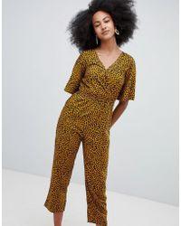Monki - Leopard Print Jumpsuit In Brown - Lyst