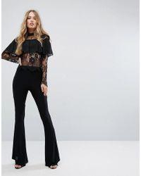 Club L   Jersey Trouser With Ruffle Hem Detail   Lyst