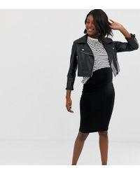 dcd54e11b83b2 ASOS Asos Design Maternity Maxi Skirt With Buttons And Split In Polka Dot  in Black - Lyst