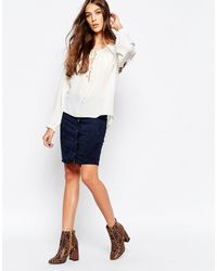 First & I - Button Up Faux Suede Skirt - Lyst