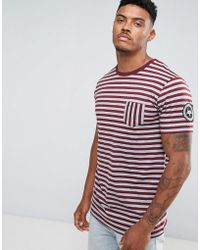 Hype - T-shirt In Grey With Burgundy Stripes - Lyst