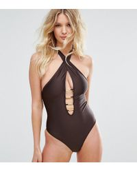 Wolf & Whistle - B-f Cup Cross Neck Plunge Swimsuit - Lyst