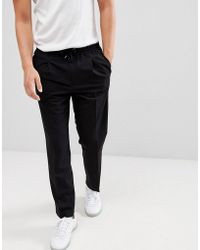 Mango - Man Front Pleat Trousers In Black - Lyst