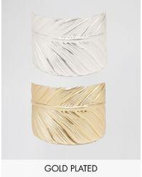 Nylon - Two Wrap Feather Bracelet Set - Gold / Silver - Lyst