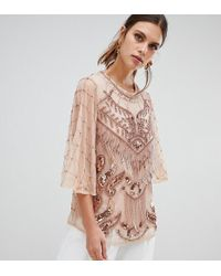 River Island - Embellished Blouse In Pink - Lyst