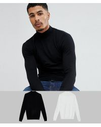 ASOS - Turtle Neck Jumper In Black / Light Grey 2 Pack Save - Lyst