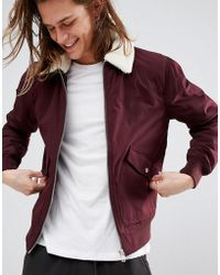 Bershka - Shearling Aviator In Burgundy - Lyst