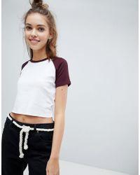 Pull&Bear - Raglan Crop T Shirt In Burg Edge - Lyst