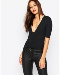 Missguided - Square Plunge Ribbed Bodysuit - Lyst