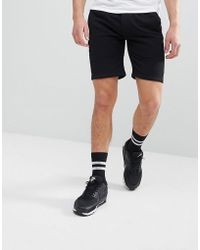 Jersey Shorts In Black With Faux Suede Panel - Black Religion thxUbCAfE