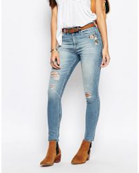 Abercrombie & Fitch - High Waist Skinny Jeans With Floral Embroidery - Lyst
