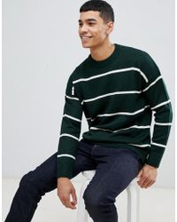 New Look - Jumper With Bold Stripes In Green - Lyst