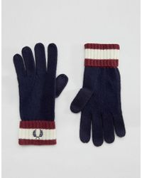 Fred Perry - Tipped Gloves In Lambswool - Navy - Lyst