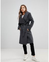 Soaked In Luxury - Funnel Neck Belted Coat - Lyst