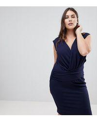 Lipsy | Plunge Front Bodycon Mini Dress | Lyst