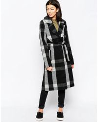 Ichi - Belted Checked Coat - Lyst
