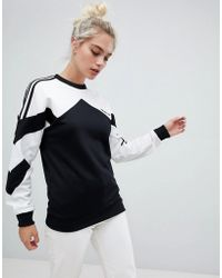 adidas Originals - Authentic Sweatshirt With Contrast Panel In White And Black - Lyst