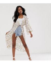 Boohoo - Exclusive Kimono With Tie Waist In White Floral - Lyst