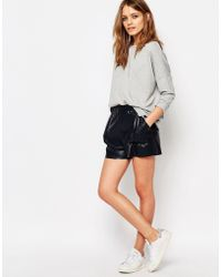 BOSS Orange - Faux Leather Shorts - Lyst