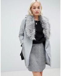 Girls On Film - Boyfriend Coat With Faux Fur Detail - Lyst