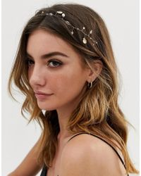 ASOS - Back Hair Crown With Shells And Pearl And Crystal Detail In Gold Tone - Lyst
