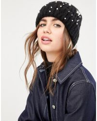 Pieces - Pearl Embellished Hat - Lyst