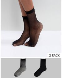 Vero Moda - 2 Pack Fishnet Socks - Lyst